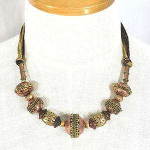 Antique Gold Copper Necklace Patina Beaded